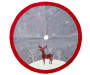 48 Inch Diameter Tree Skirt with Gray Background, White Snowflakes, White Trees, White Snow, Red and Gree Plaid Deer and Red Trim Overhead View Silo Image
