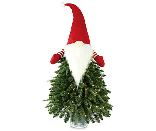 Winter Wonder Lane 4 Merry Gnome Pre Lit Artificial Christmas Urn Tree With Warm White Lights Big Lots