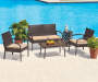 4PC BROWN ALL WEATHER WICKER SEATING SET WITH BEIGE CUSHIONS