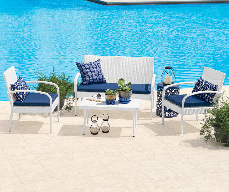 4-Pc Wilson & Fisher White All Weather Wicker Seating Set