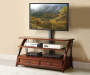 50 Inche Mounted Wood TV Stand with Displayed TV Room View