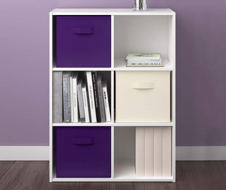 6 Cube White Stipple Storage Cubby Room View