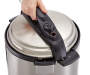 6 Quart Pressure Cooker silo top view lid on with hand prop