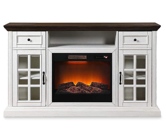 White Brown Two Tone Electric Fireplace Console Big Lots