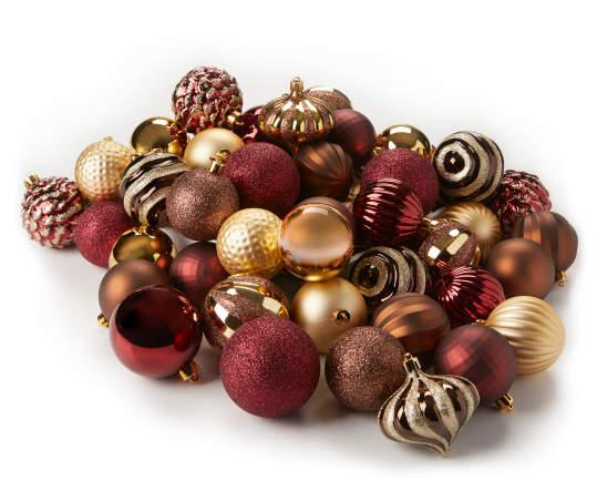 Winter Wonder Lane Gold Red Copper Rustic 60 Piece Ornament Set Big Lots