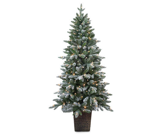 Winter Wonder Lane 6 Blitzen Flocked Pre Lit Artificial Christmas Urn Tree Big Lots