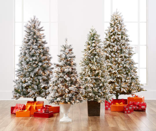 7 Flocked Pre Lit Christmas Tree With Clear Lights Big Lots