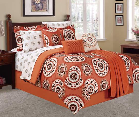 Deals on Living Colors Suzani Paprika & Cream 12-Piece Comforter Set