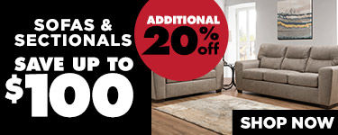 Additional 20 percent off Sofas & Sectionals. Save up to $100. Shop Now