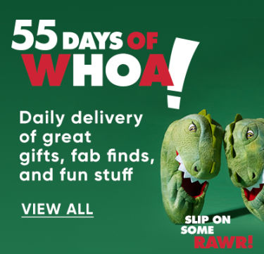 55 Days of whoa! Daily delivery of great gifts, fab finds and fun stuff. We'll hook you up. View All.
