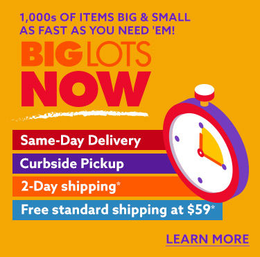 Big Lots now. same day delivery curbside pickup 2 day shipping and free standard shipping at 59 dollars. Learn more