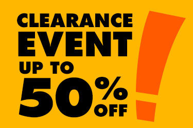 Clearance event up to 50 percent off.