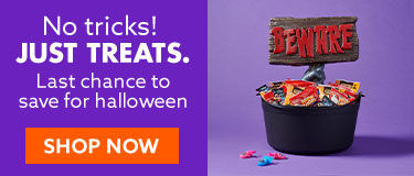 No tricks just treats. Last chance to save for halloween. shop now