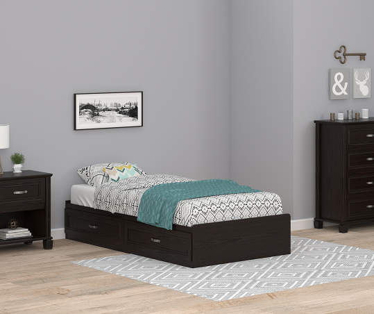 Ameriwood Andover Oak Espresso Twin Mates Storage Bed Big Lots