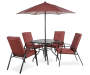 ASH RIDGE 6PC RED DINING SET WITH UMBRELLA