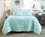 Aelin Mint and Gray 8 Piece Queen Reversible Comforter Set Mint Side Up On Bed Lifestyle Image