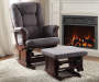 Aeron Gray and Cherry Upholstered Glider Chair and Ottoman Lifestyle Living Room