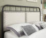 All in One Linen Upholstered Panel Queen Metal Bed bedroom image headboard close up