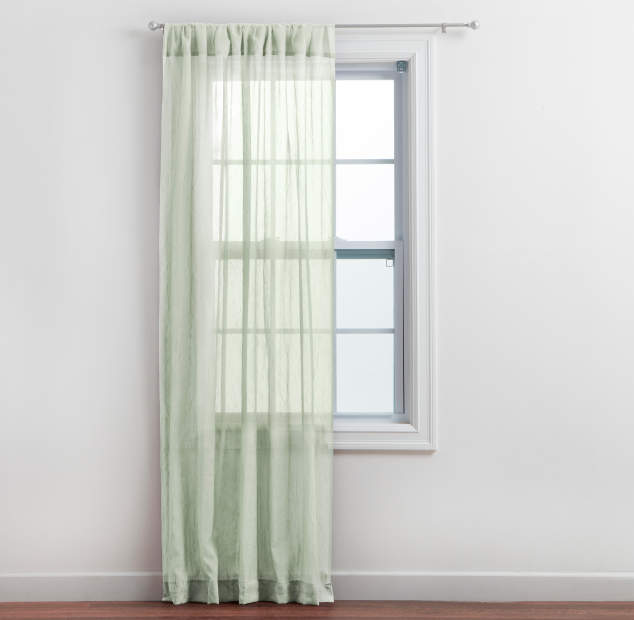 Aloe Crushed Voile Sheer Curtain Panel Lifestyle Image