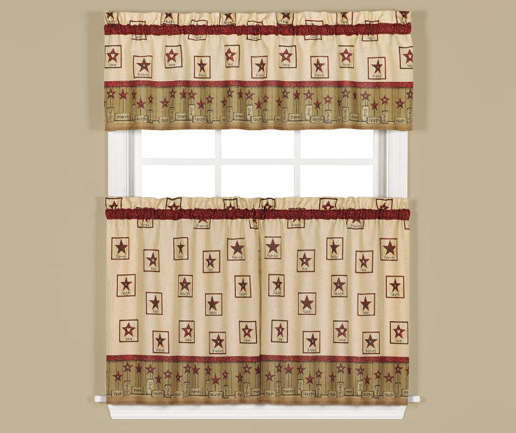 Americana Tan and Red Tier and Valance 3 Piece Set On Window Lifestyle Image