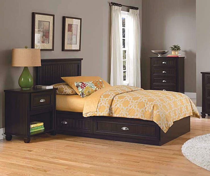 ameriwood twin mates cherry bedroom collection | big lots