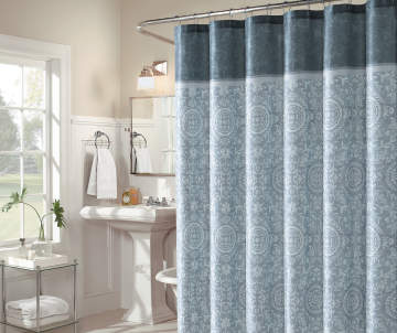 Non Combo Product Selling Price 120 Original List 1200 Aprima Amity Gray Medallion Fabric Shower Curtain