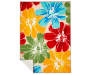 Anemone Multi Color Floral Indoor Outdoor Rug 6 feet 7 inches by 9 feet Silo Image Folded Corner Overhead View