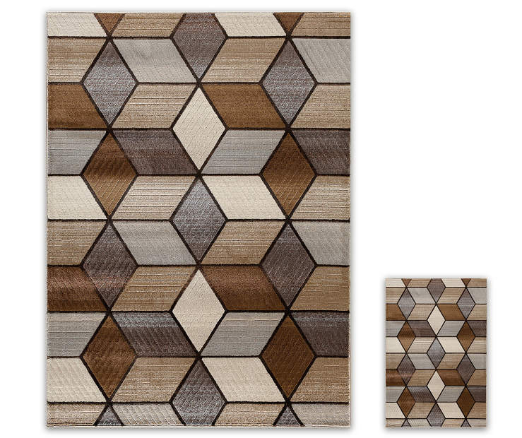 Angled Graph 2 Piece Rug Set 1 Feet 8 Inches By 6 And
