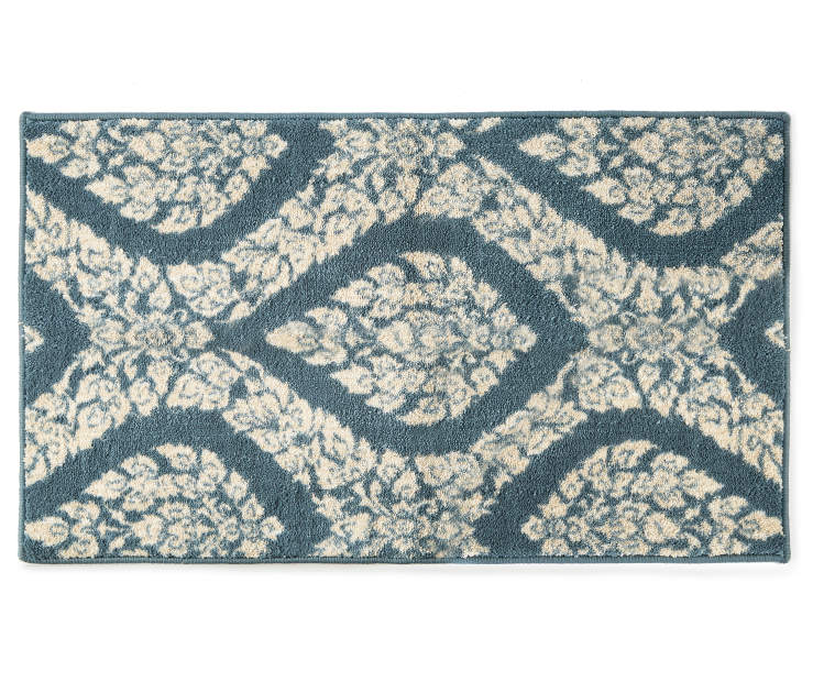 Anna Marie Navy Blue Floral Ogee Accent Rug 1 feet 8 inch x 2 feet 10 inch silo front