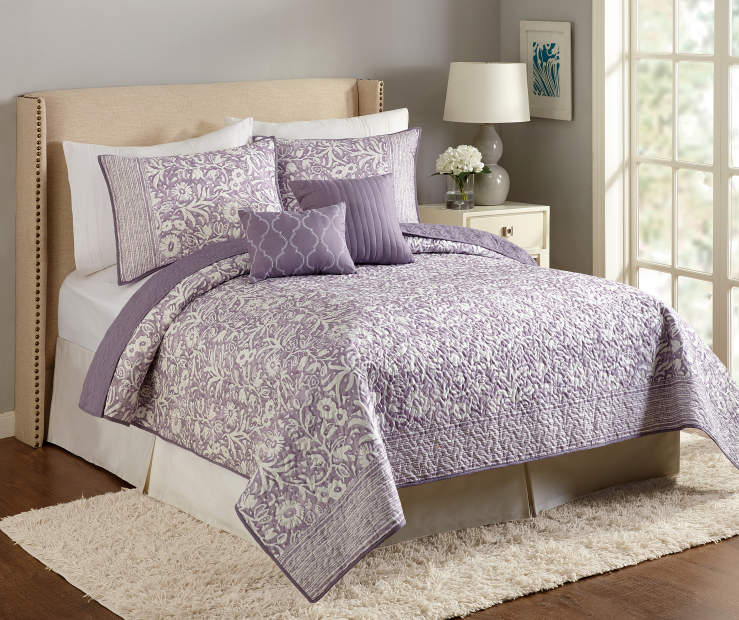 Anthina Floral Purple Full Queen 5 Piece Quilt Set lifestyle