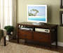 Antique Dark Brown 2-Drawer TV Stand lifestyle