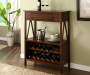 Antique Dark Brown 2-Shelf Wine Cabinet lifestyle