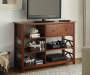 Antique Dark Brown 5 Shelf TV and Media Center lifestyle