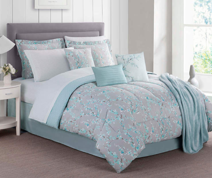 Aqua Blossom King 12 Piece Comforter Set Lifestyle Image Bedroom