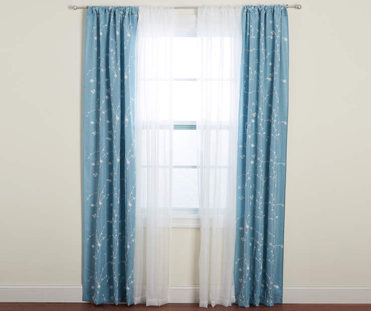 Aqua Floral Embroidery and Sheer Voile Curtain Panels 4 Piece Set Lifestyle Window Curtain Open