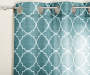 Aqua Quatrefoil Print and Sheer Voile Curtain Panels 4 Piece Set Rod Corner