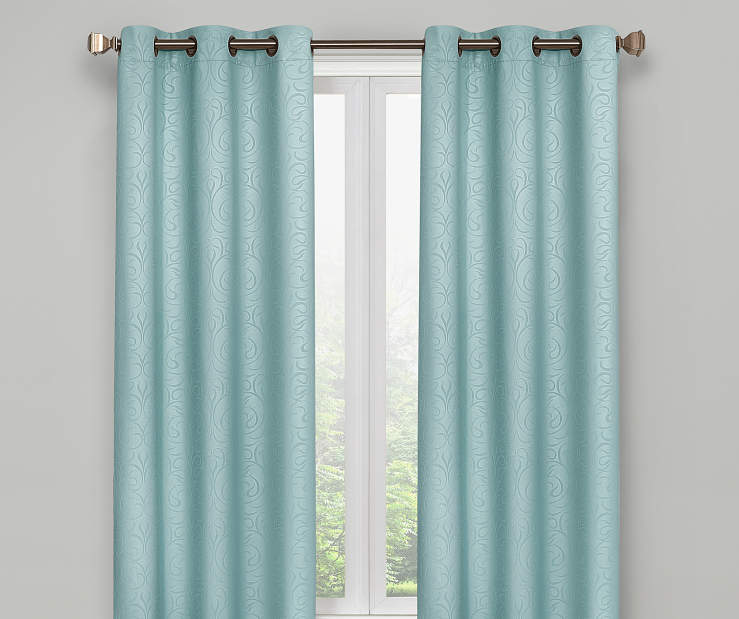 Aqua Scroll Blackout Curtain Panel Pair 63 Inches on Window Room Environment Lifestyle Image