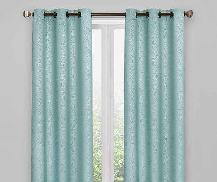 Aqua Scroll Blackout Curtain Panel Pair 84 Inches On Window Room Environment Lifestyle Image
