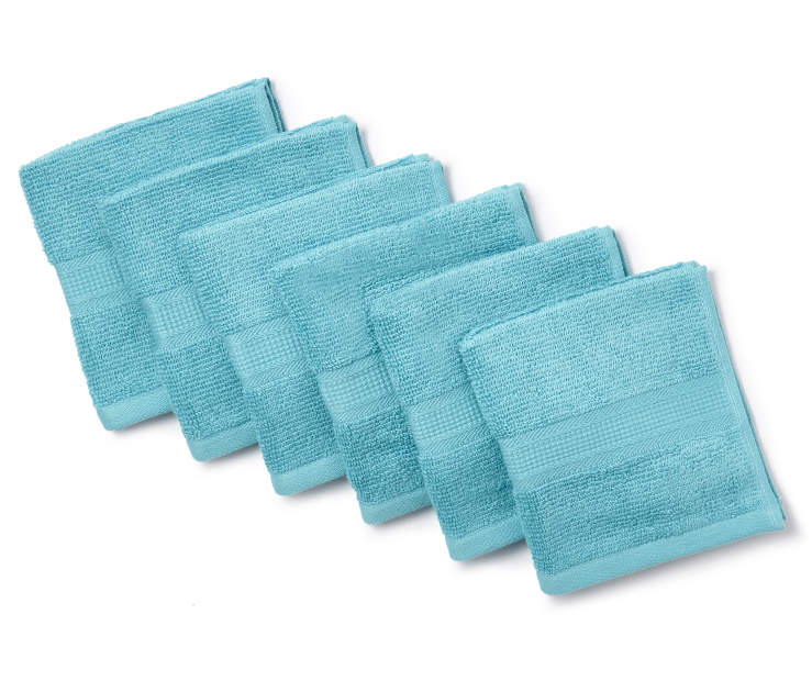 Aqua Wash Cloths 6 Pack Silo image Fanned Overhead view