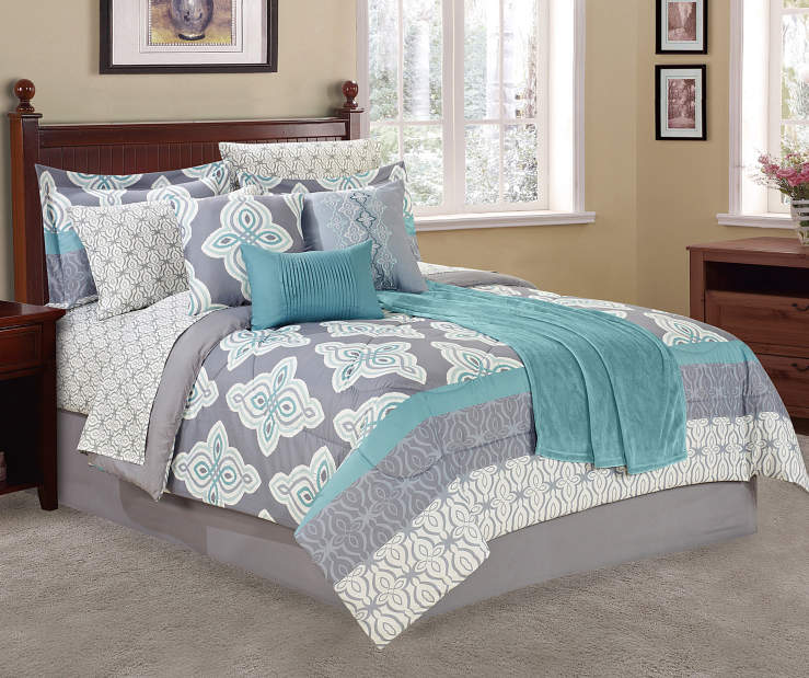 Aqua and Gray Tile 12-Piece Queen Comforter Set Lifestyle Image