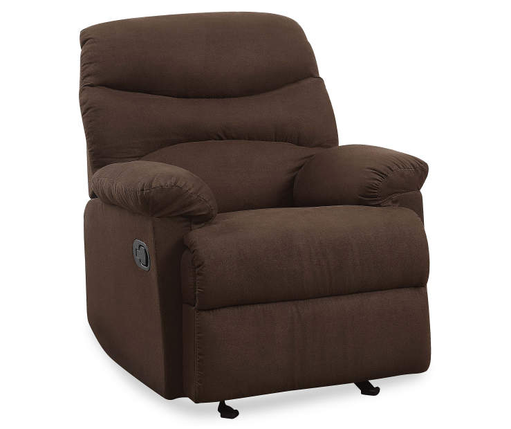 Arcadia Chocolate Brown Microfiber Recliner Silo Angled Right
