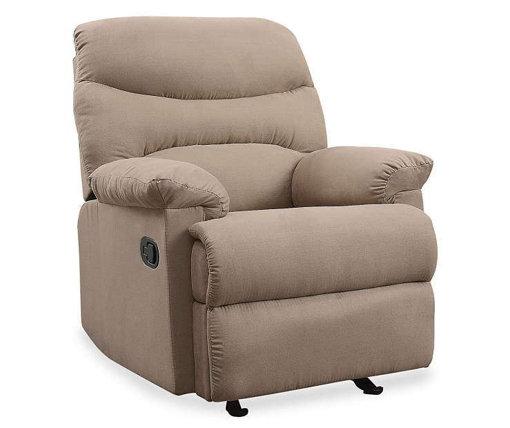 Arcadia Light Brown Microfiber Recliner Silo Angled Right