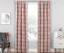 Aria Cayenne Red & Gray Modern Herringbone Blackout Single Curtain Panel 84 inches Living Room Lifestyle