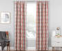 Aria Cayenne Red & Gray Modern Herringbone Blackout Single Curtain Panel 95 inches Living Room Lifestyle
