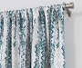 Aria Ocean Teal & Gray Modern Herringbone Blackout Single Curtain Panel 63 inches Lifestyle