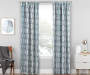 Aria Ocean Teal & Gray Modern Herringbone Blackout Single Curtain Panel 63 inches Living Room Lifestyle
