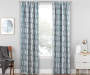 Aria Ocean Teal & Gray Modern Herringbone Blackout Single Curtain Panel 84 inches Living Room Lifestyle