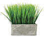 Artificial Grass Plant in Rectangular Slate Pot Silo Image Front View
