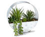 Artificial Succulent Round Metal Tabletop Planter Silo image Angled View