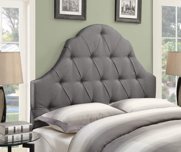 Ash Gray Button Tufted Queen Upholstered Headboard bedroom setting